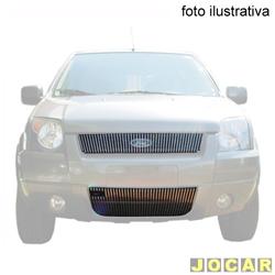 Aplique da grade - BMJ - Ecosport 2003 a 2007 - 2 peças -filetes verticais - Com aplique no pára-choque s/abertura para emblema - cromado - dianteiro - jogo - 13.1 / 043