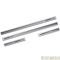 Aplique da soleira - Sport Inox - linha Abarth - aço escovado resinado - UNIVERSAL-autoadesivo - preto e cromado - jogo - FT024E4P