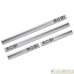 Aplique da soleira - Sport Inox - Mobi 2016 em diante - resina aço escovado - autoadesivo - jogo - FT026E4P