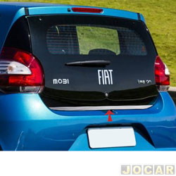 Friso aplique do capô traseiro - Sport Inox - Mobi 2016 em diante - auto colante - resinado - aço escovado - cada (unidade) - FT014FSIE