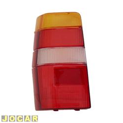 Lente da lanterna traseira - alternativo - RN Lanternas - Fiorino 1986 até 2004 - Elba - modelo M.Carto - tricolor - lado do motorista - cada (unidade) - 0839ACR
