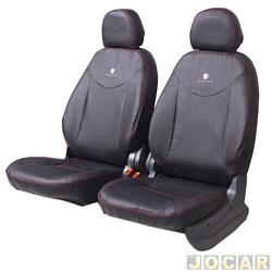 Capa para banco - Car Fashion - Fiorino 2014 em diante - Uno furgão 2010 em diante - em couro reconstituído-assentos dianteiro/traseiro - preto - jogo - 1103