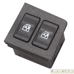 Interruptor do vidro - alternativo - Uno 1984 até 2010/Prêmio/Elba 1985 até 1996 - Fiorino 1987 até 2010 - duplo - led vermelho - preto - lado do motorista - cada (unidade)