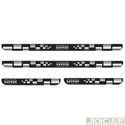 Aplique da soleira - Emblemax - Uno 2010 em diante - resinado - 4 portas - auto colante - preto e cromado - jogo - SOL011