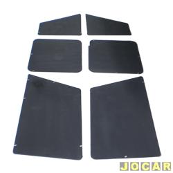 Revestimento da caçamba - alternativo - Fiorino Furgão 1987 até 1996 - 6 peças - curta - preta - jogo
