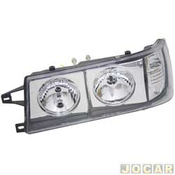 Farol tuning - alternativo - Inov (RCD) - Uno/Fiorino 1991 até 2004 - Elba/Prêmio 1991 até 1996 - foco duplo - máscara cromada - com pisca - lado do motorista - cada (unidade) - 21179