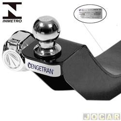 Engate para reboque - Engetran - Strada 2004 em diante - 1 furo na longarina, com esfera e tomada cromadas - fixo - preto - traseiro - cada (unidade) - E20708C1