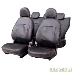Capa para banco - Car Fashion - Palio 2011 em diante - Grand Siena 2012 em diante - em couro reconstituído-assentos dianteiro/traseiro - preto - jogo - 0007