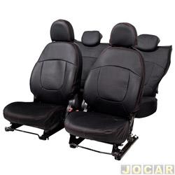 Capa para banco - Car Fashion - Palio 2011 em diante - Grand Siena 2012 em diante - em courvin-assentos dianteiro/traseiro - preto - jogo - 1608