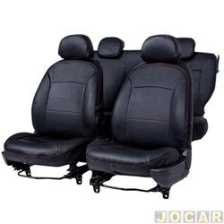 Capa para banco - Car Fashion - Palio 1996 até 2011 - Courvin - Preto - jogo - 0073.