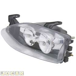 Farol tuning - alternativo - Inov (RCD) - Palio/Siena/Strada - 1996 até 2000 - foco duplo - máscara cromada - lente lisa - lado do motorista - cada (unidade) - 21619