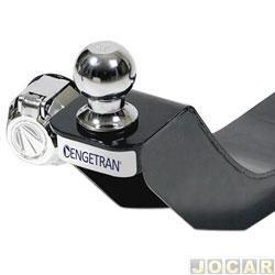 Engate para reboque - Engetran - Clio hatch de 1999 até 2003 - não fura, com esfera e tomada cromadas - veículo com spoiler - preto - traseiro - cada (unidade) - ENG-2854