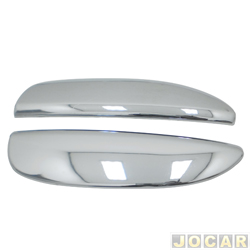 Capa da maçaneta externa - Clio 2003 até 2012 - auto-adesiva - 2 portas - cromada - jogo
