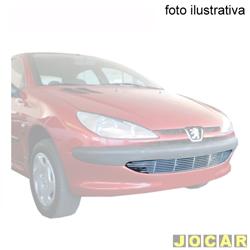 Aplique da grade do para-choque - BMJ - Peugeot de 1999 a 2005 - 1 peça - filetes horizontais  - cromado - dianteiro - cada (unidade) - 81.1 / 067