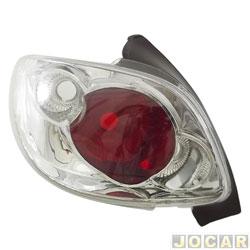 Lanterna traseira tuning - alternativo - RCD / InovWay - 206 - 2001 até 2010 - inovox - cristal (branca) - traseiro - lado do motorista - cada (unidade) - IE 2443