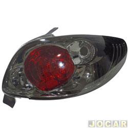 Lanterna traseira tuning - alternativo - RCD / InovWay - Peugeot 206 2001 até 2010 - inovox - fumê - traseiro - lado do passageiro - cada (unidade) - IE2444