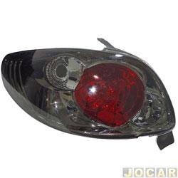 Lanterna traseira tuning - alternativo - RCD / InovWay - Peugeot 206 2001 até 2010 - inovox - fumê - traseiro - lado do motorista - cada (unidade) - IE2445