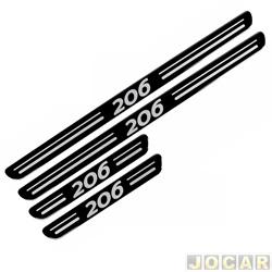 Aplique da soleira - 206 1998 até 2010 - resinado - auto colante - preto - jogo