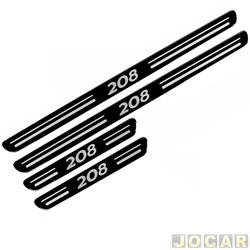 Aplique da soleira - 208 2013 em diante - resinado - auto colante - preto - jogo