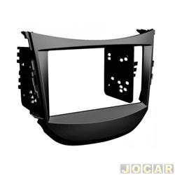 Moldura do painel do rádio - alternativo - HB20 2012 até 2015 - Multimidia 2 Dim (18x10cm) Modelo Chinês - preta - cada (unidade)