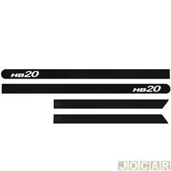 Friso lateral - HB20 2012 em diante - preto Phantom - auto colante - jogo