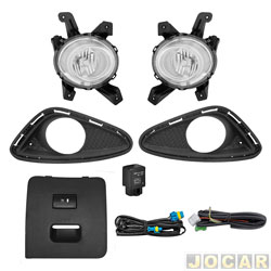 Kit de farol de milha - alternativo - Suns Far�is - HB20/HB20S 2012 at� 2015 - com moldura cinza e bot�o modelo original moldura cinza - jogo - FGS-0031HY