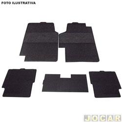 Tapete de carpete+borracha - BRB Unicol - Civic 2001 em diante - Confort 5 peças - preto - jogo - 1520