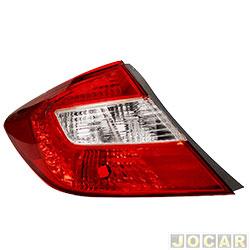 Lanterna traseira - importado - Civic 2012 até 2016 - lateral - lado do motorista - cada (unidade) - 58722