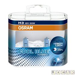 Kit lâmpada do farol - Osram Sylvania - farol - H3 12V/55W - Cool Blue Intense (luz mais branca) - 4200K - jogo - 64151CBI