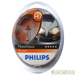 L�mpada do farol - Philips - H7 - Motovision - para motos grandes - cada (unidade) - 12972MV