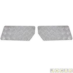 Aplique do tapete - Autopoli - acabamento em alumínio xadrez - prata - par - AP117