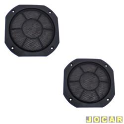 Tela do alto-falante - redonda 6 - plástica - sem parafuso - preta - par