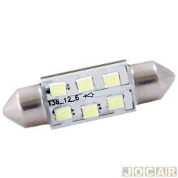 Lâmpada - Autopoli - torpedo LED branco - longa - 12V 10W - 10,5x42mm - par - AP 377