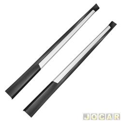 Spoiler lateral - TG Poli - universal Flex 2 e 4 portas - preto acetinado com prata - par - 05.018