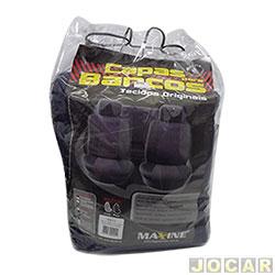 Capa para banco - baixo - com 2 apoios de cabe�a para os bancos dianteiros - preta - jogo