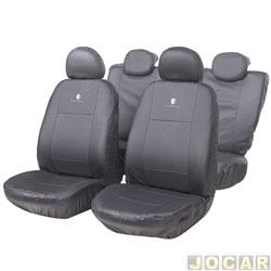 Capa para banco - Car Fashion - em couro reconstitu�do-assentos dianteiro/traseiro - grafite - jogo - 0084