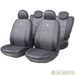 Capa para banco - Car Fashion - em couro reconstitu�do-assento dianteiro/traseiro - bicolor - jogo - 6109 - preto/grafite