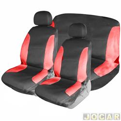 Capa para banco - Bezi - preto e vermelho - baixo com 2 apoios de cabeça - jogo - 703660