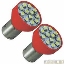 Lâmpada de Led - Autopoli - Lanterna 2 polos - com 12 leds vermelho - pinos diferentes - par - AP197