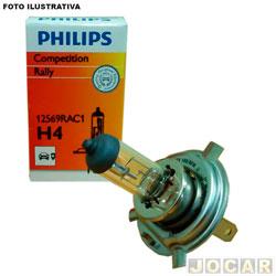 Lâmpada do farol - Philips - H4 - Rally - 100W - cada (unidade) - 12569-H4