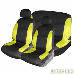 Capa para banco - Bezi - preta e amarela - baixo com 2 apoios de cabe�a - jogo - 703842
