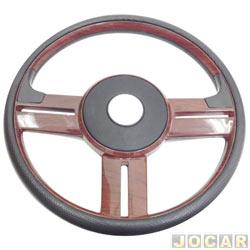 Volante - Haste - Rally - acabamento imita madeira - 37cm de diametro - preto - cada (unidade) - H2-004