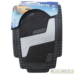 Tapete de PVC - GoodParts - UNIVERSAL- Quadrimat - acab.centr. cor cinza cl.+ carp.preto - preto - jogo - 70.4050