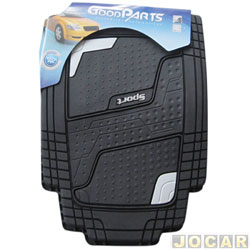 Tapete de PVC - GoodParts - UNIVERSAL-Quadrimat-extremidades cor cinza cl.+ logo Sport - preto - jogo - 70.4053