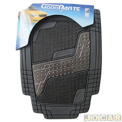 Tapete de PVC - GoodParts - UNIVERSAL-Quadrimat-acab.centr. cor fibra de carb+carp.preto - cinza - jogo - 70.4056