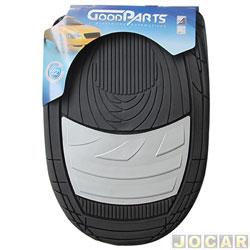 Tapete de PVC - GoodParts - UNIVERSAL - Dune - acabamento central na cor cinza claro - preto - jogo - 70.4057