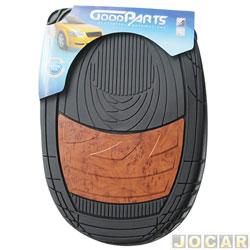 Tapete de PVC - GoodParts - UNIVERSAL - Dune - acabamento central na cor de madeira - preto - jogo - 70.4059