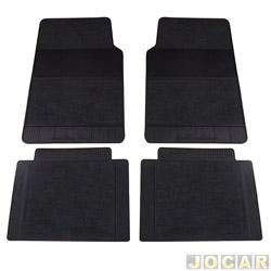 Tapete de carpete+borracha - Grupo B (tipo universal - ver detalhes) - Uniflex - 4 peças - grafite - jogo