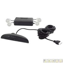 Sensor de estacionamento - importado - com display e campainha - 4 sensores - branco - traseiro - cada (unidade)