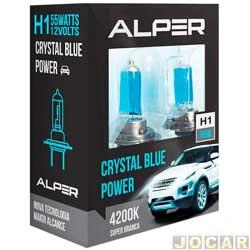 Kit l�mpada do farol - Alper - H1 - Crystal Blue Power - 4200K - luz branca - jogo - 17111